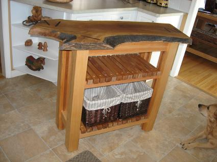 butcher block island with baskets