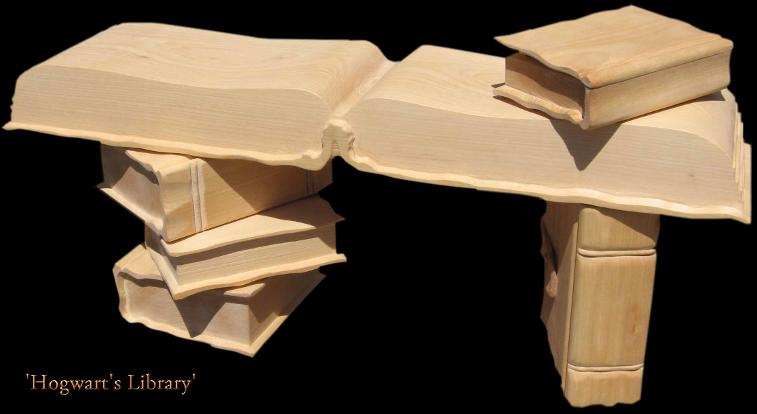 Hand carved bench with open book for seating and books for legs