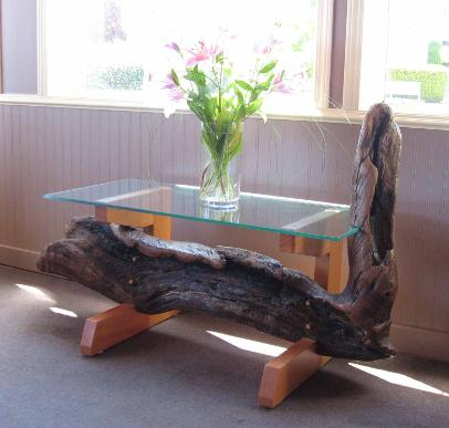 Driftwood whale table with glass top