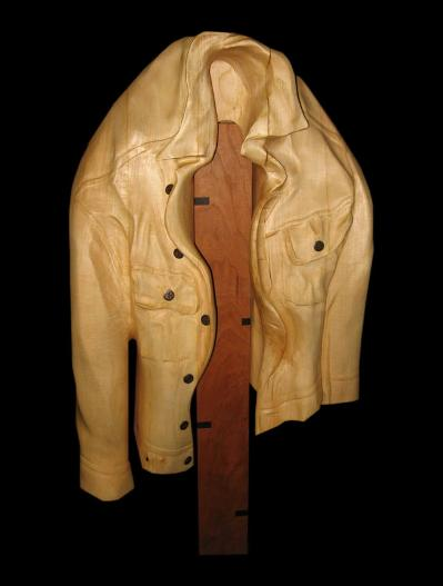 Don Bastian Hand Carved Mens Jean Jacket Full Size