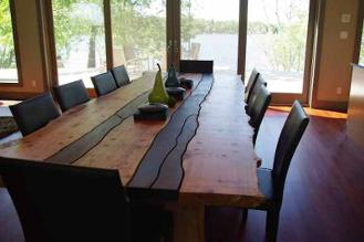 Live Edge large dining table set