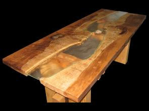 live edge table with slump glass fish and rock middlet Back Side View