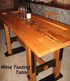 Wine tasting table with yew log in top