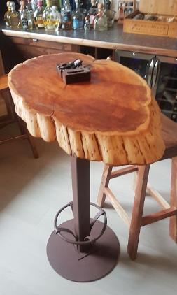 Yew wine tasting table with iron stand and feet rest