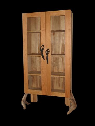Hutch with driftwood legs and male, female handles